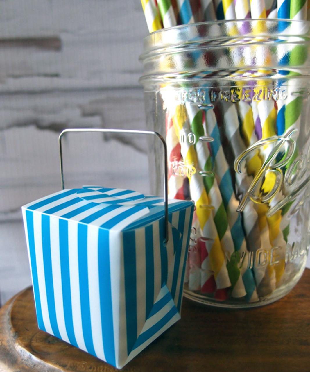 """1 5/8""""x1 5/8""""x2"""" Takeout Box-Blue Stripes"""