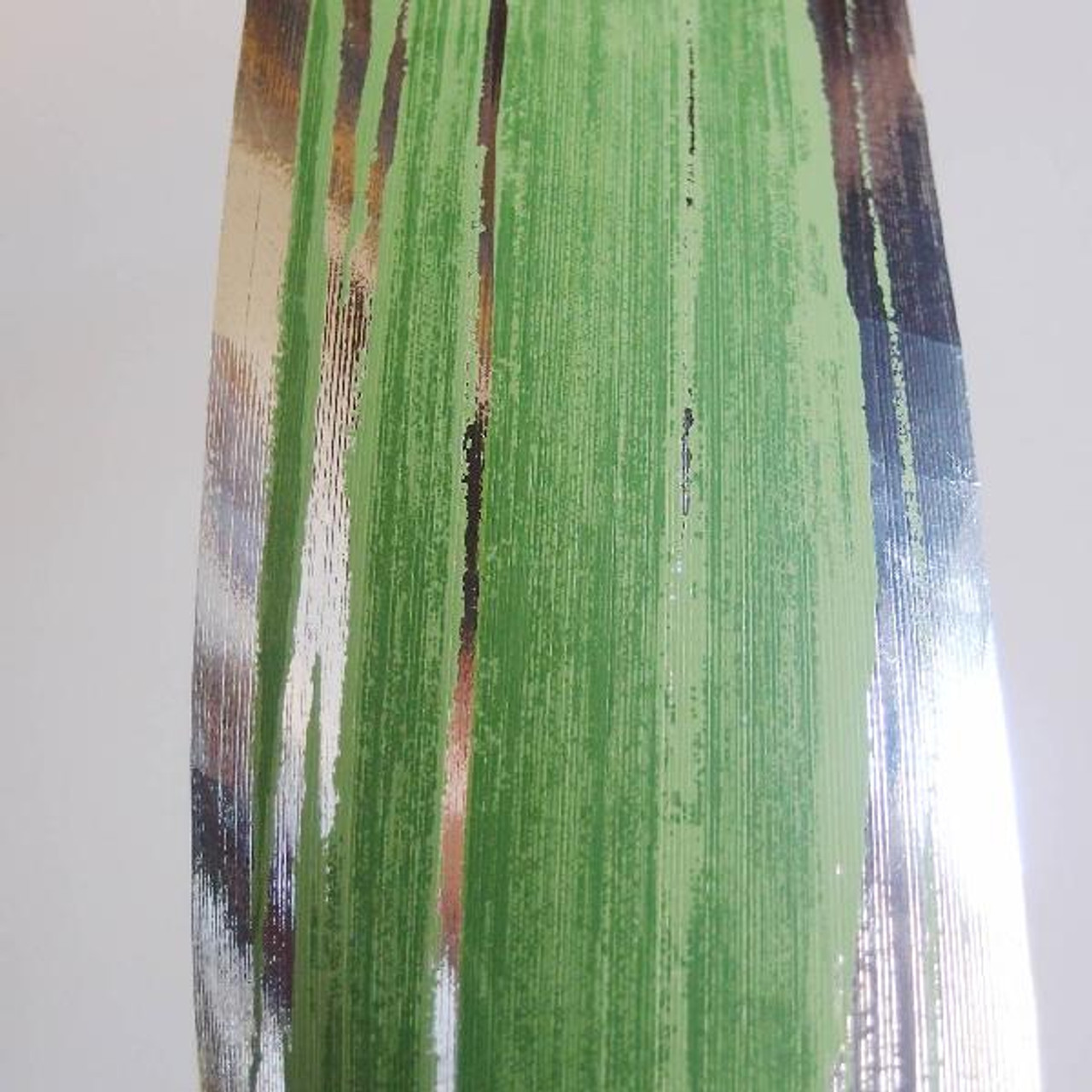 Metallic  Green & Silver Aspidistra Leaf Ribbon