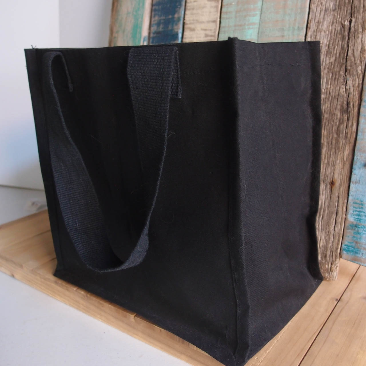 """Side view of Black Canvas Shopping Tote Bag 12"""" W x 12"""" H x 7 3/4"""" Gusset B890-89, Wholesale Black Canvas Tote Bags, Wholesale Cotton Bags 