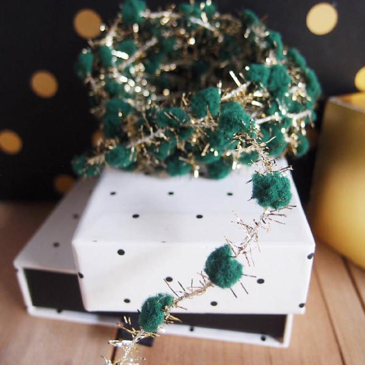 Green Wired Pom Pom with Gold Tinsel