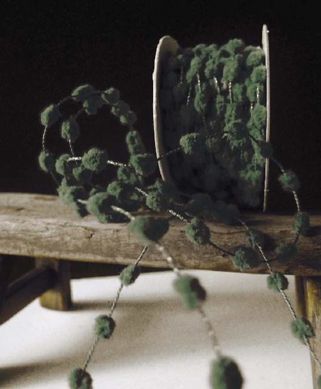 Moss Wired Pom Pom Trim