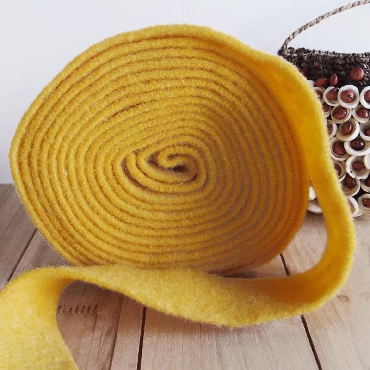 Yellow Pure Wool Felt Ribbon  (2 sizes)