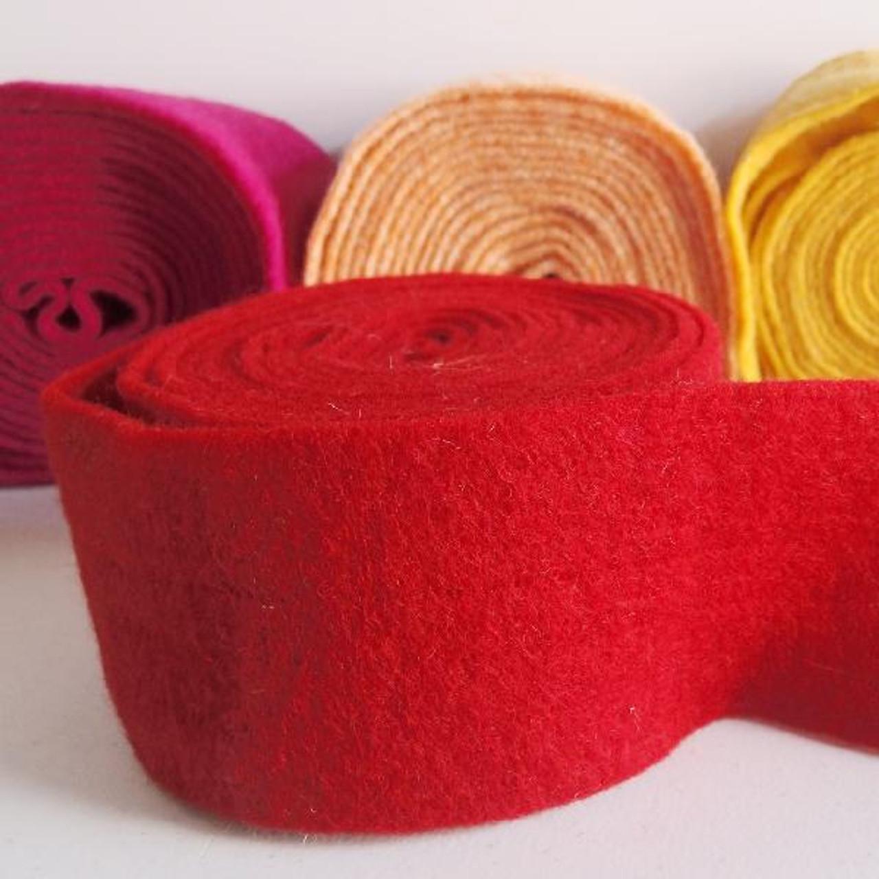 Red Pure Wool Felt Ribbon (2 sizes)