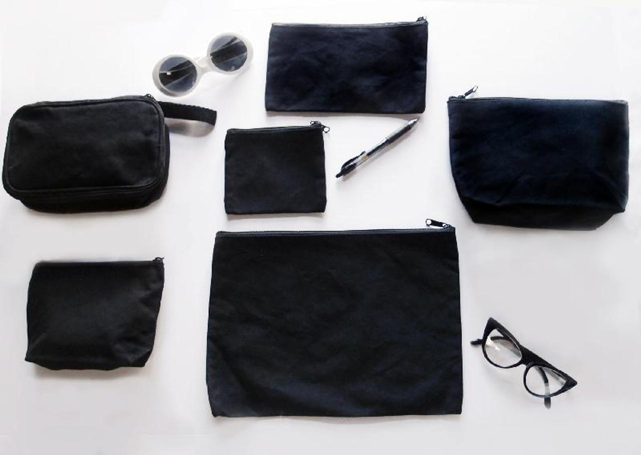 "Black Recycled Canvas Zipper Bag  10"""