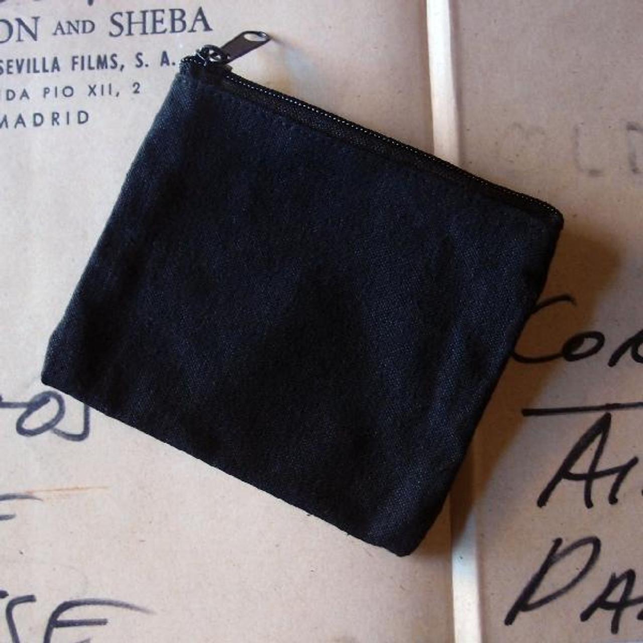 Black Recycled Canvas Flat Zipper Bag Small