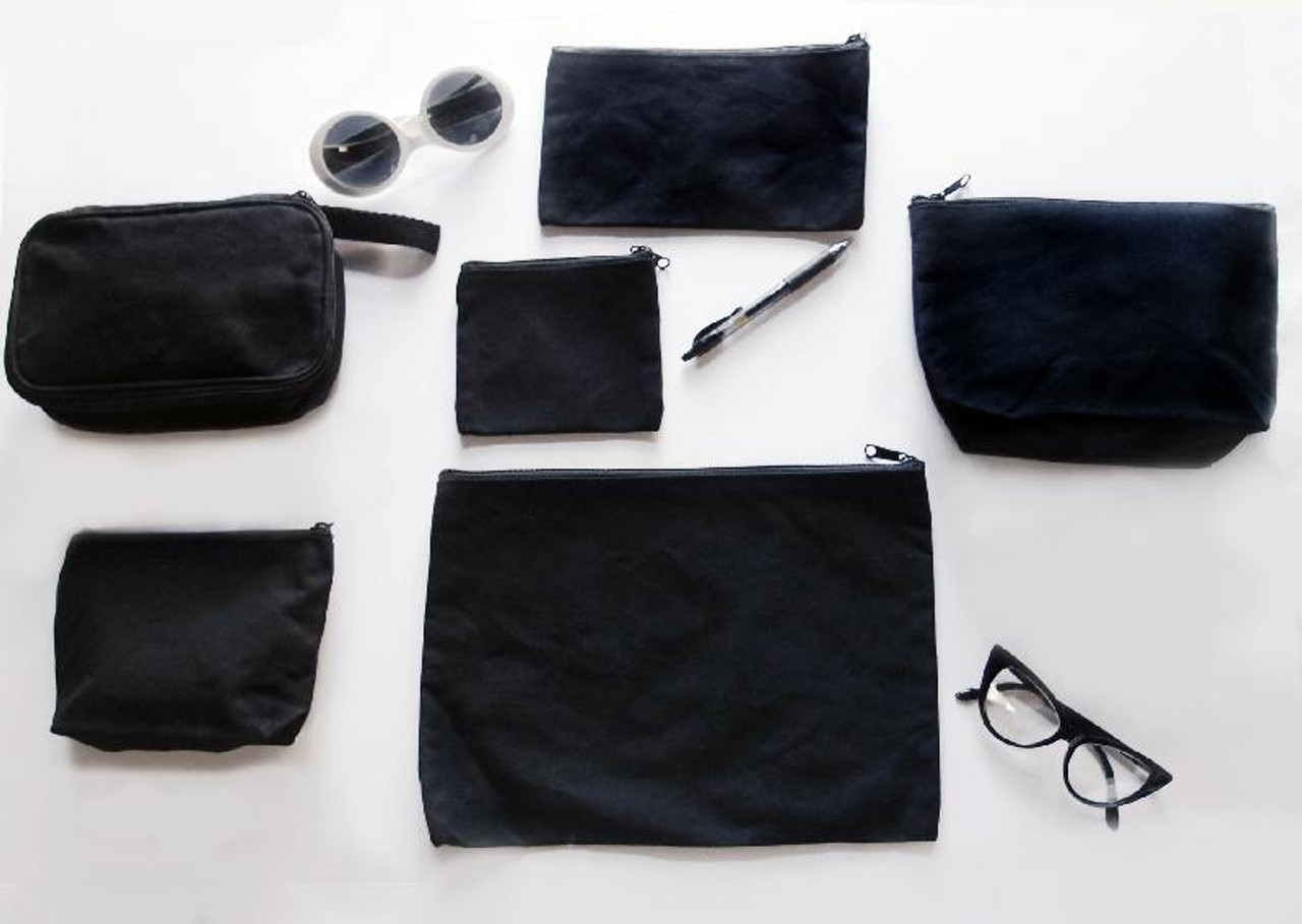 "Black Recycled Canvas Flat Zipper Pouch 13"" x 9 1/2"""
