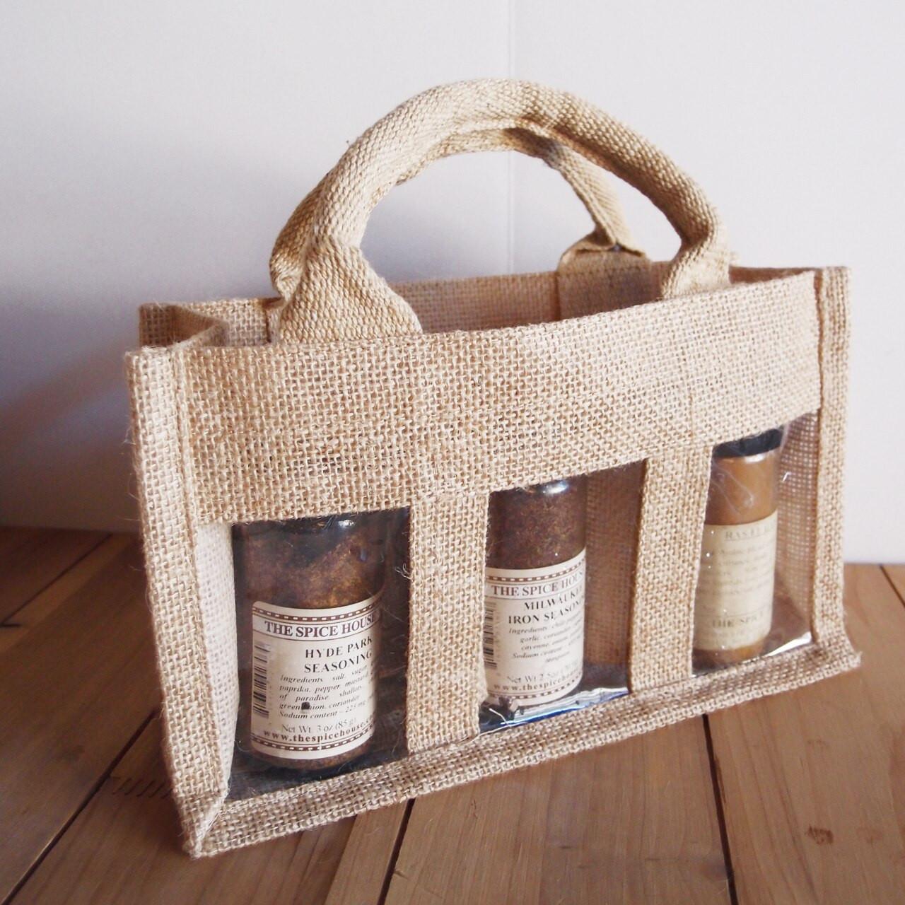 3-Jar Burlap Gift Set Tote Bag, Wholesale Tote Bags | Packaging Decor