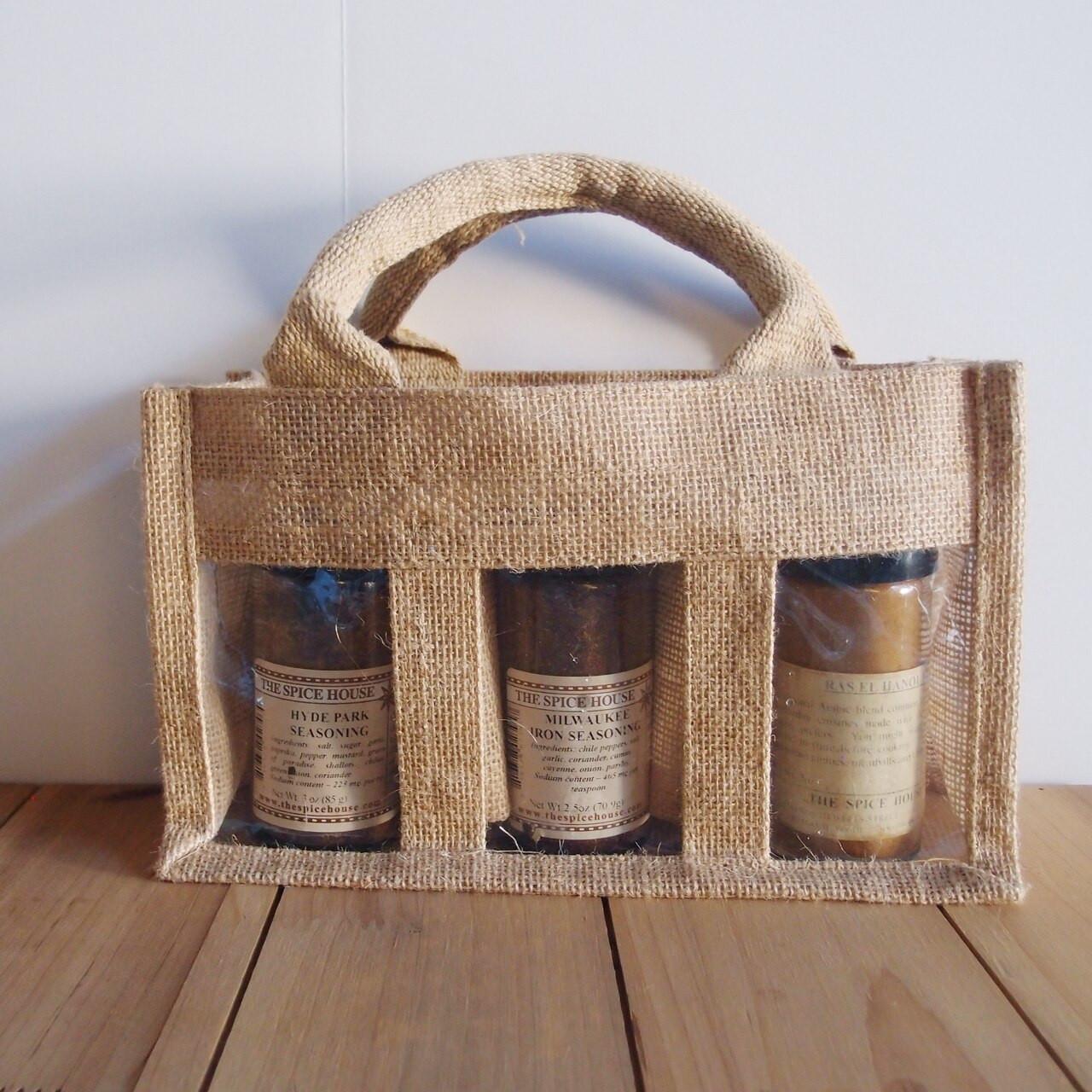 3-Jar Burlap Gift Set Tote Bag B937-21, Wholesale Burlap Tote Bags | Packaging Decor
