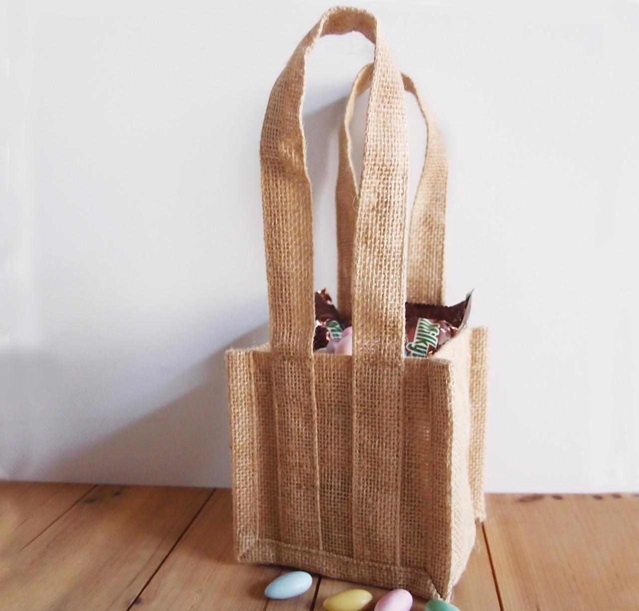 """Natural Jute Plant Tote Bag 4 1/2"""" x 4 1/2"""" x 11"""""""