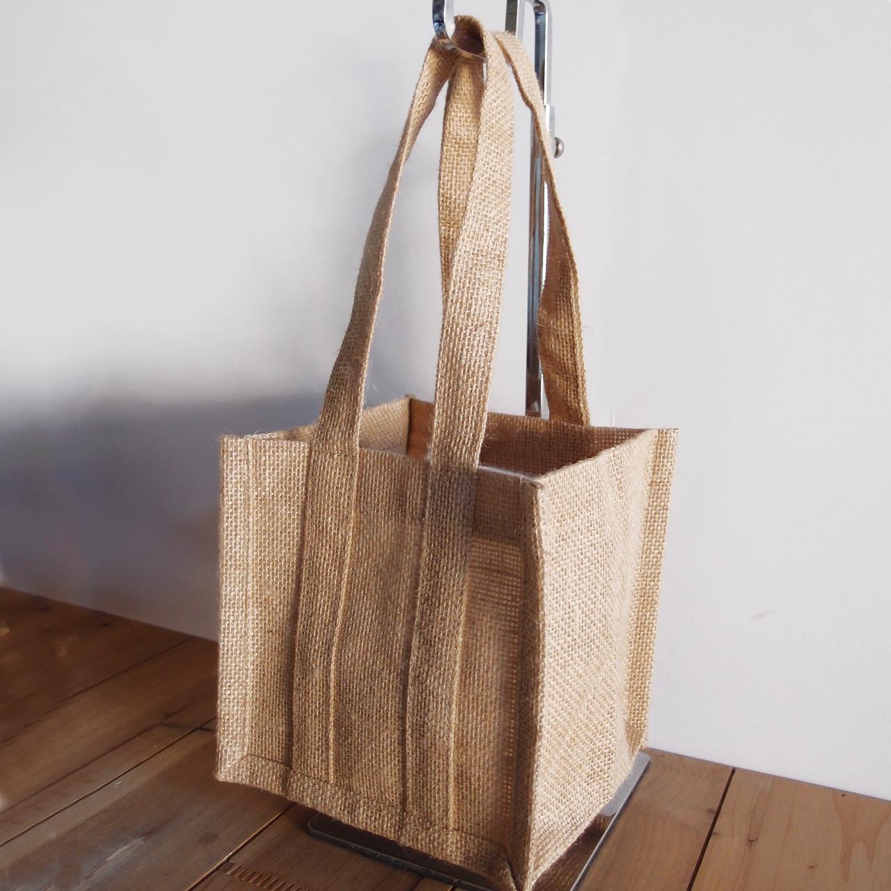 """Natural Jute Plant Tote Bag 6 1/2"""" x 6 1/2"""" x 14"""""""