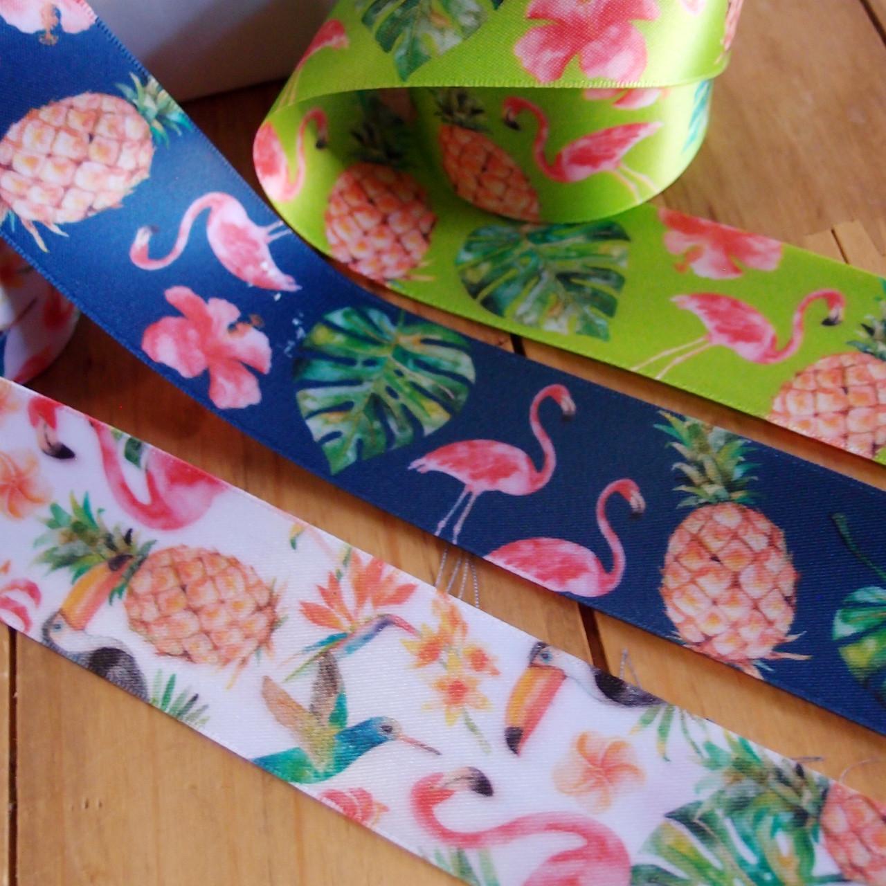 "1 ½"" x 10 meters  Tropical Flamingos Navy Satin Ribbon"