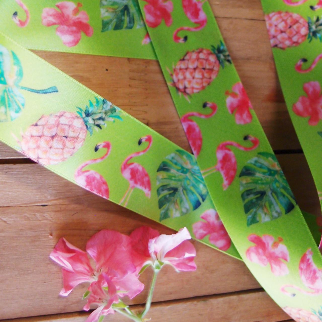 "1 ½"" x 10 meters Tropical Flamingos Green Satin Ribbon"