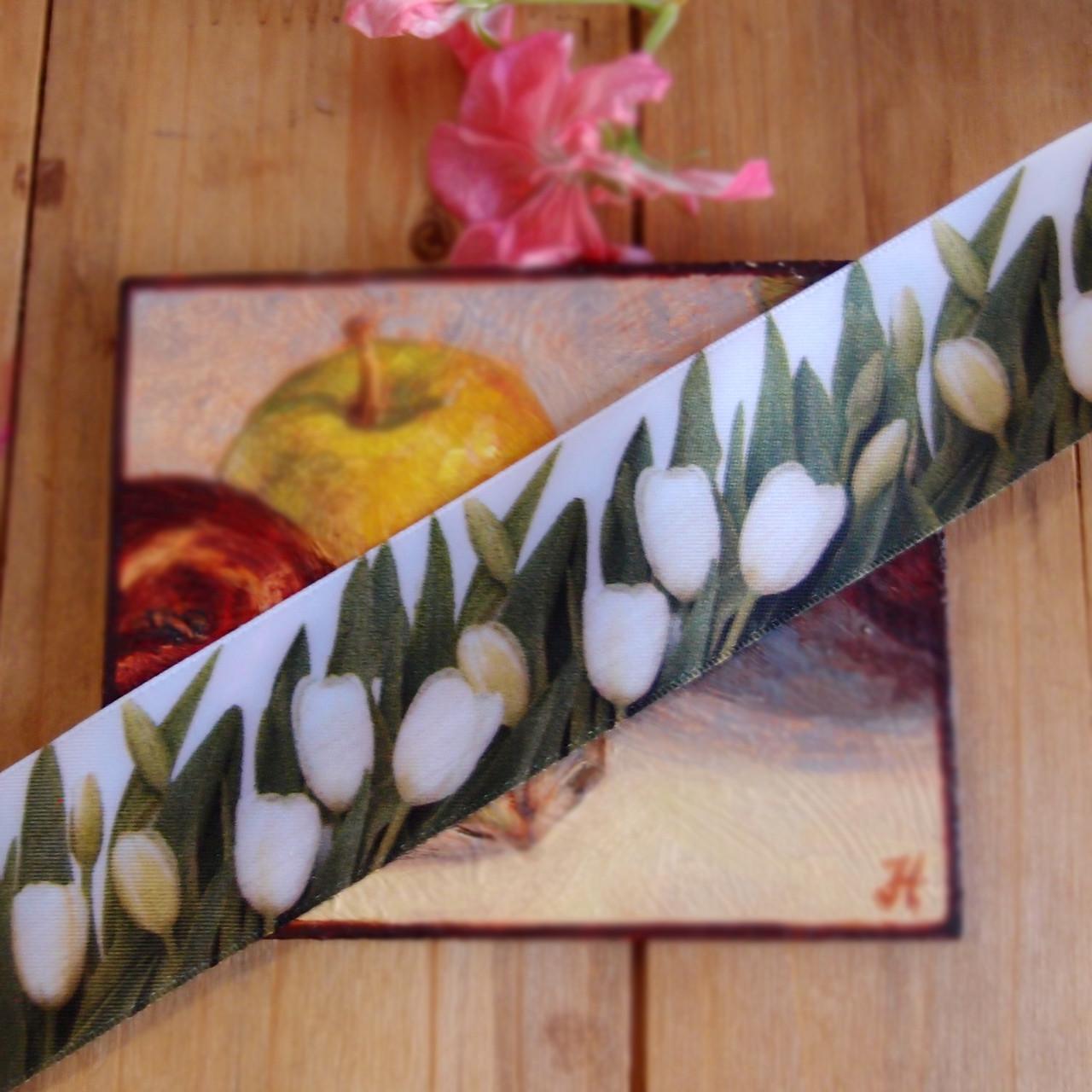 """1 ½"""" x 10 meters Tulip Printed Satin Ribbon"""