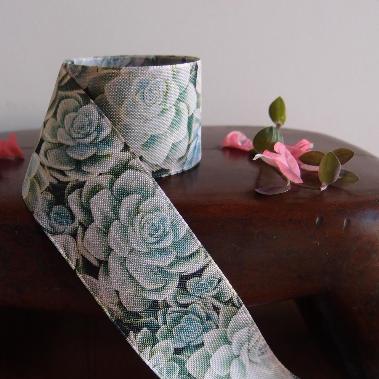 "1 ½"" x 10 meters Succulent Printed Ribbon, Succulent Ribbon, Wholesale Ribbon | Packaging Decor"