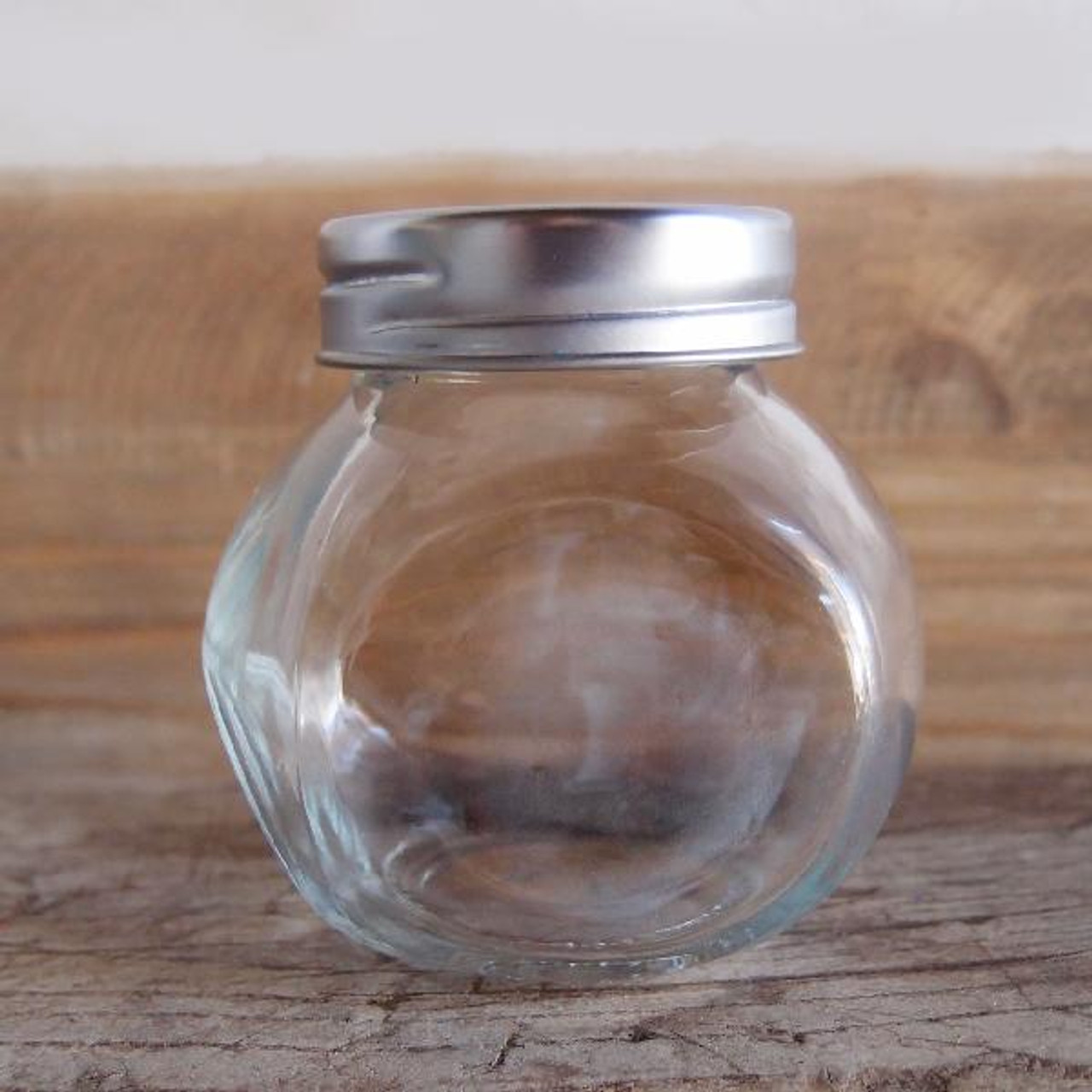 Small Clear Glass Slanted Candy Jar with Screw on Lids