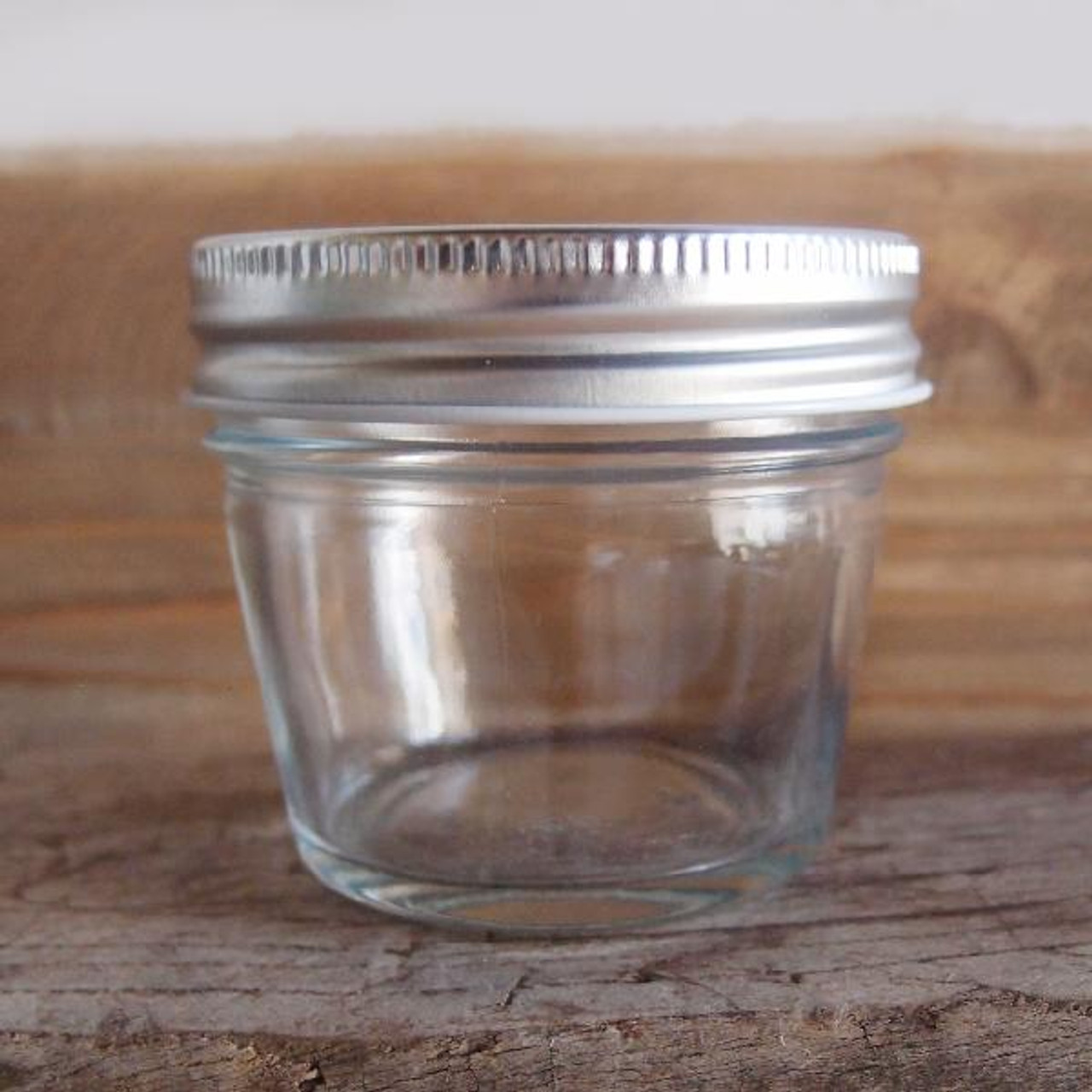 Small Clear Glass Jar with Metal Lid