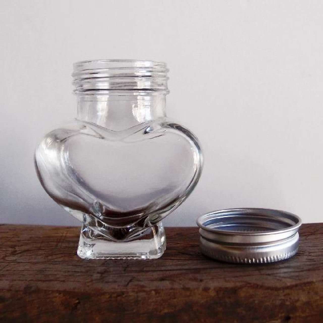Small Clear Glass Heart Jar with Metal Lid