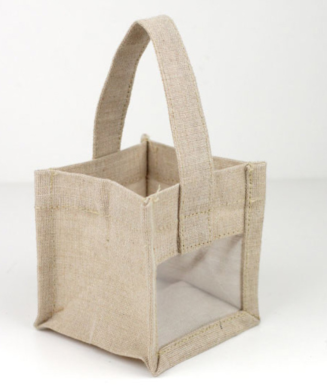 Mini Burlap Tote with Window 4.25 x 4.25