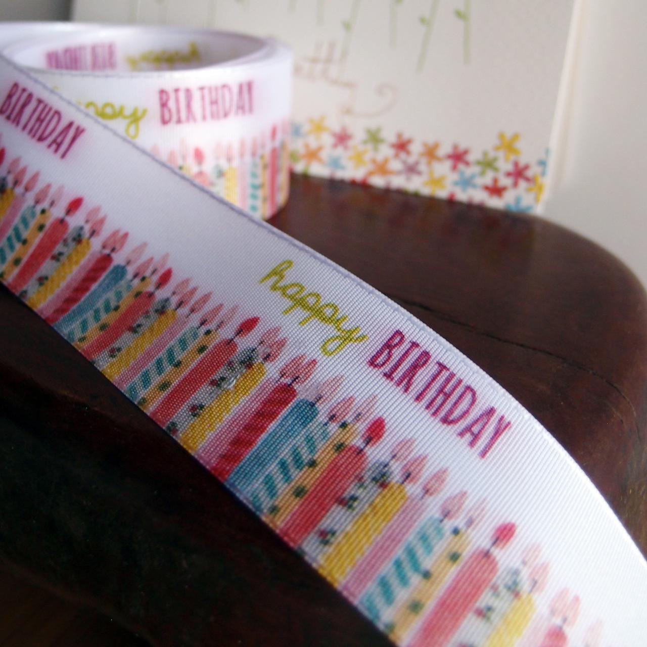 "1 1/2"" Pink Happy Birthday Candles Ribbon"