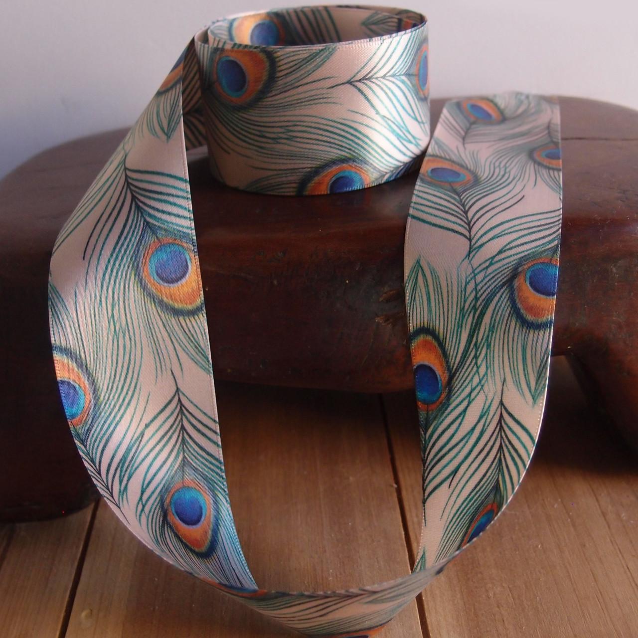"1 1/2"" Tan Peacock Feather Ribbon"