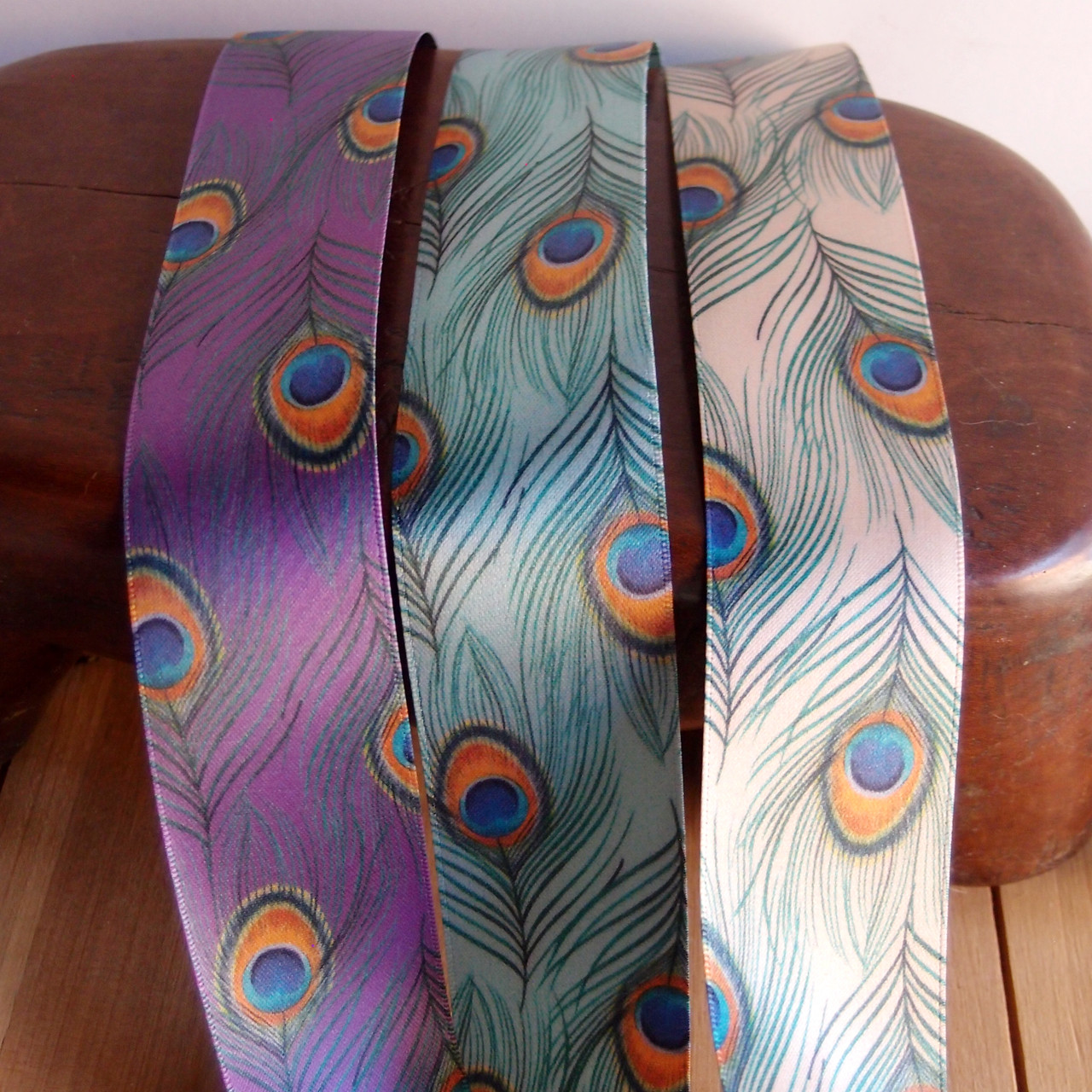 """1 1/2"""" Green Peacock Feather Ribbon"""