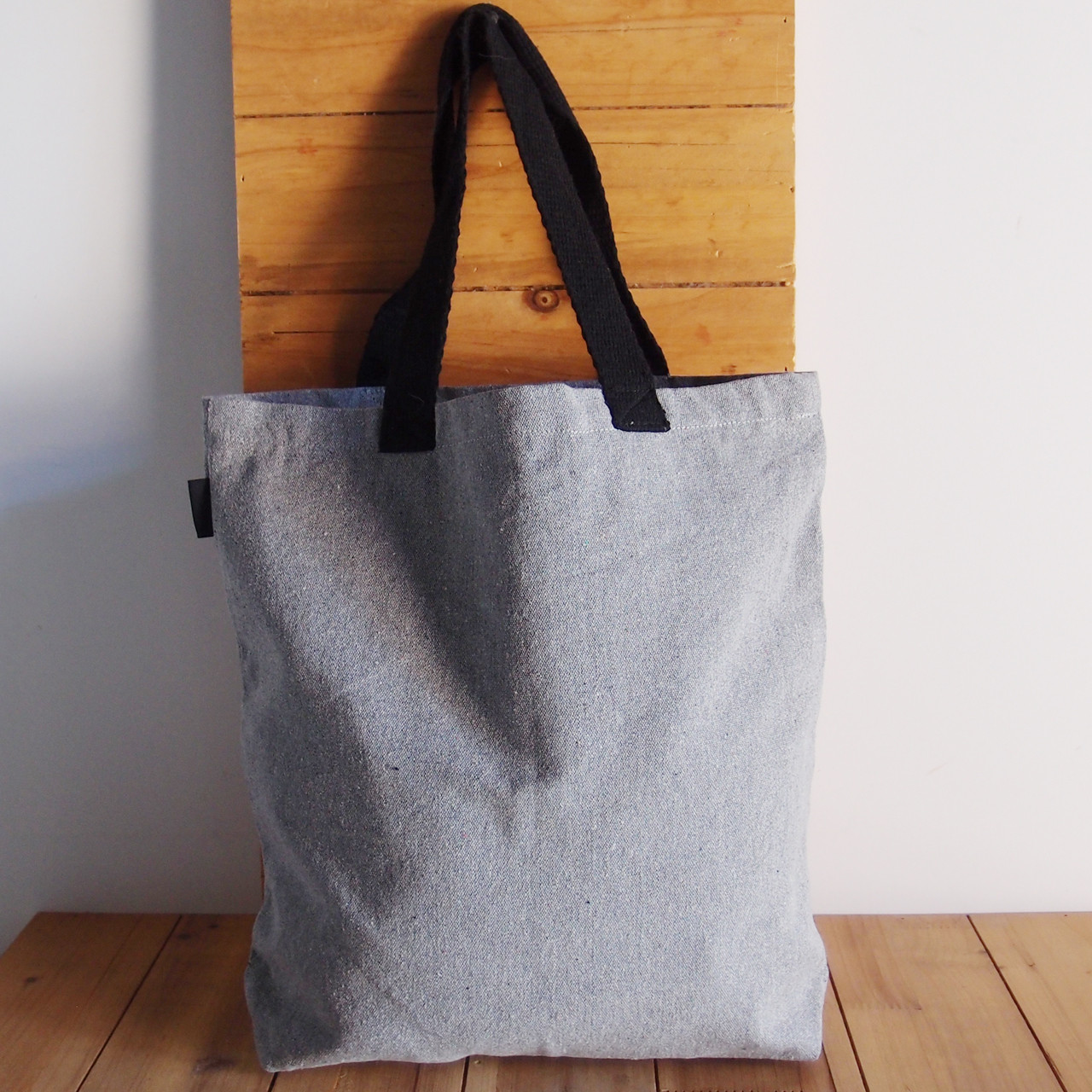 """Gray Recycled Canvas Tote  with Black Shoulder Band 14"""" W x 14"""" H x 3"""" Gusset"""
