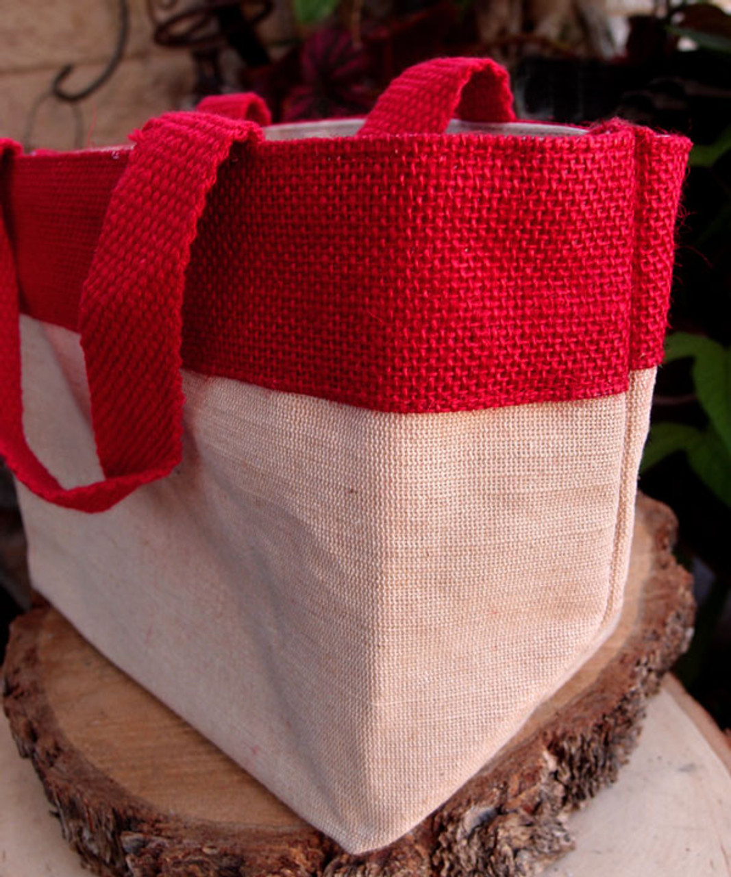 """Small Jute Cotton Blend Tote with Red Burlap Accents  11 1/2""""W x 7 1/2""""H"""