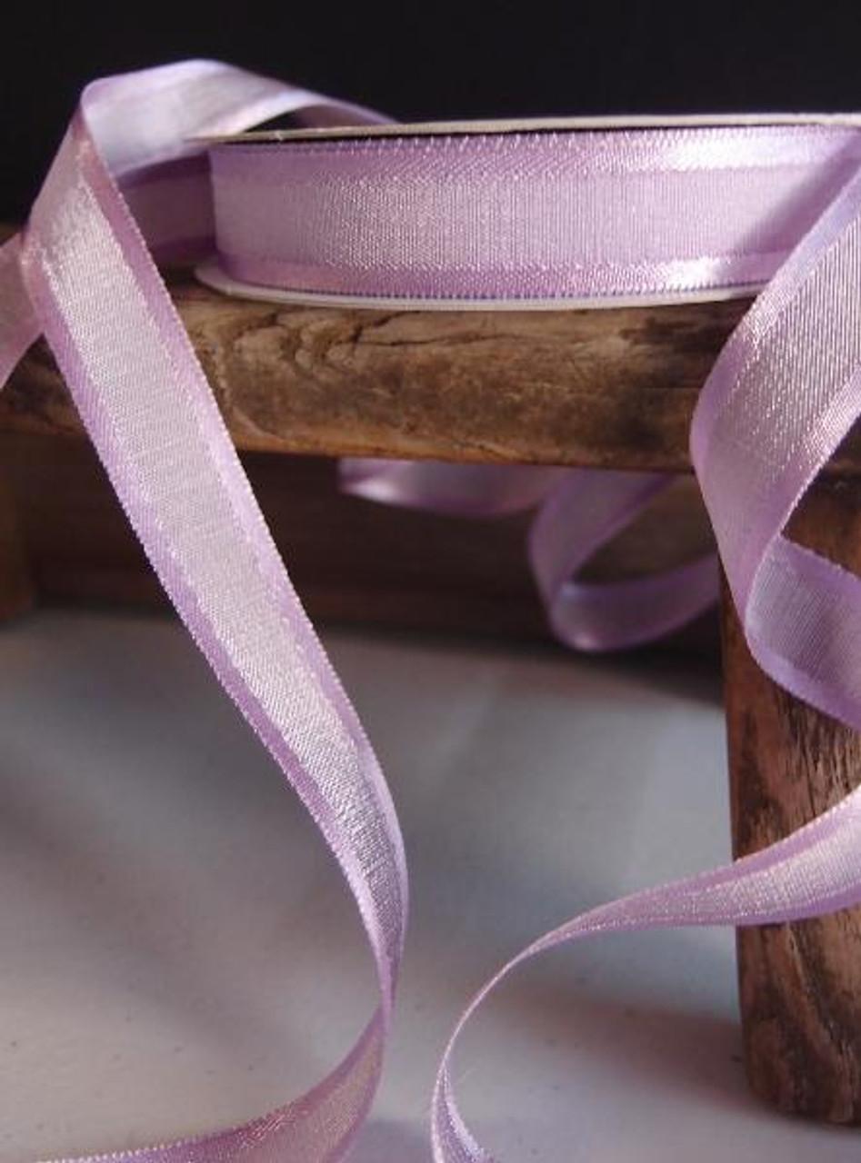 Lavender Faux Linen Ribbon with Satin Edge (3 sizes)