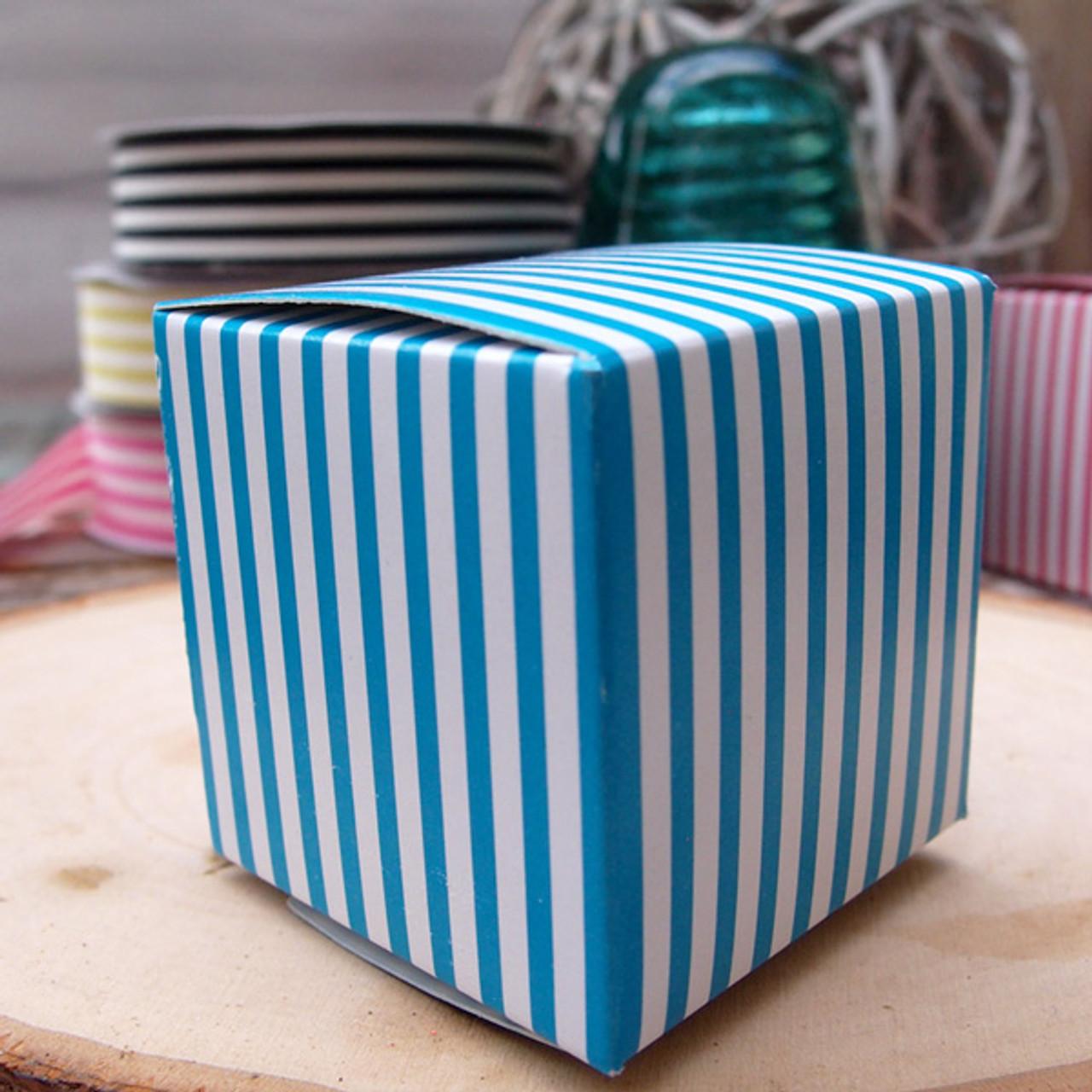 "2""x2""x2""Paper Square Box-Blue Stripes"