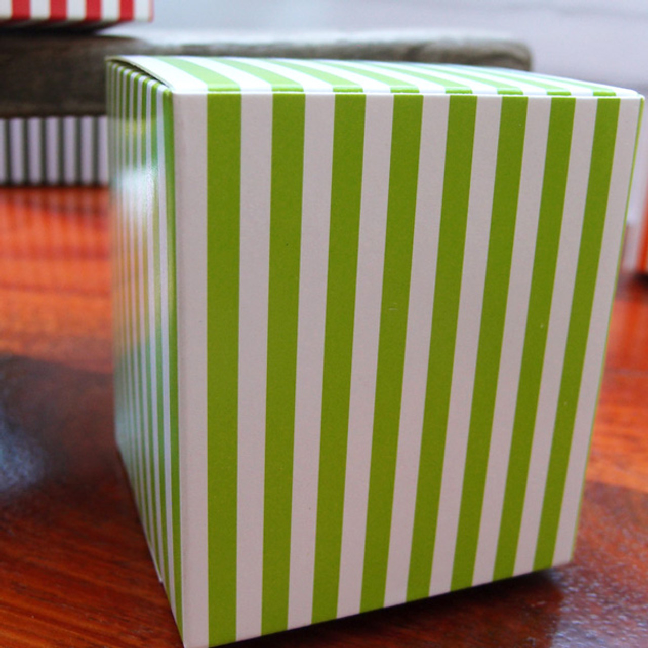 "3 1/4""x3 1/4""x3 3/4""Paper Square Box-Green Stripes"