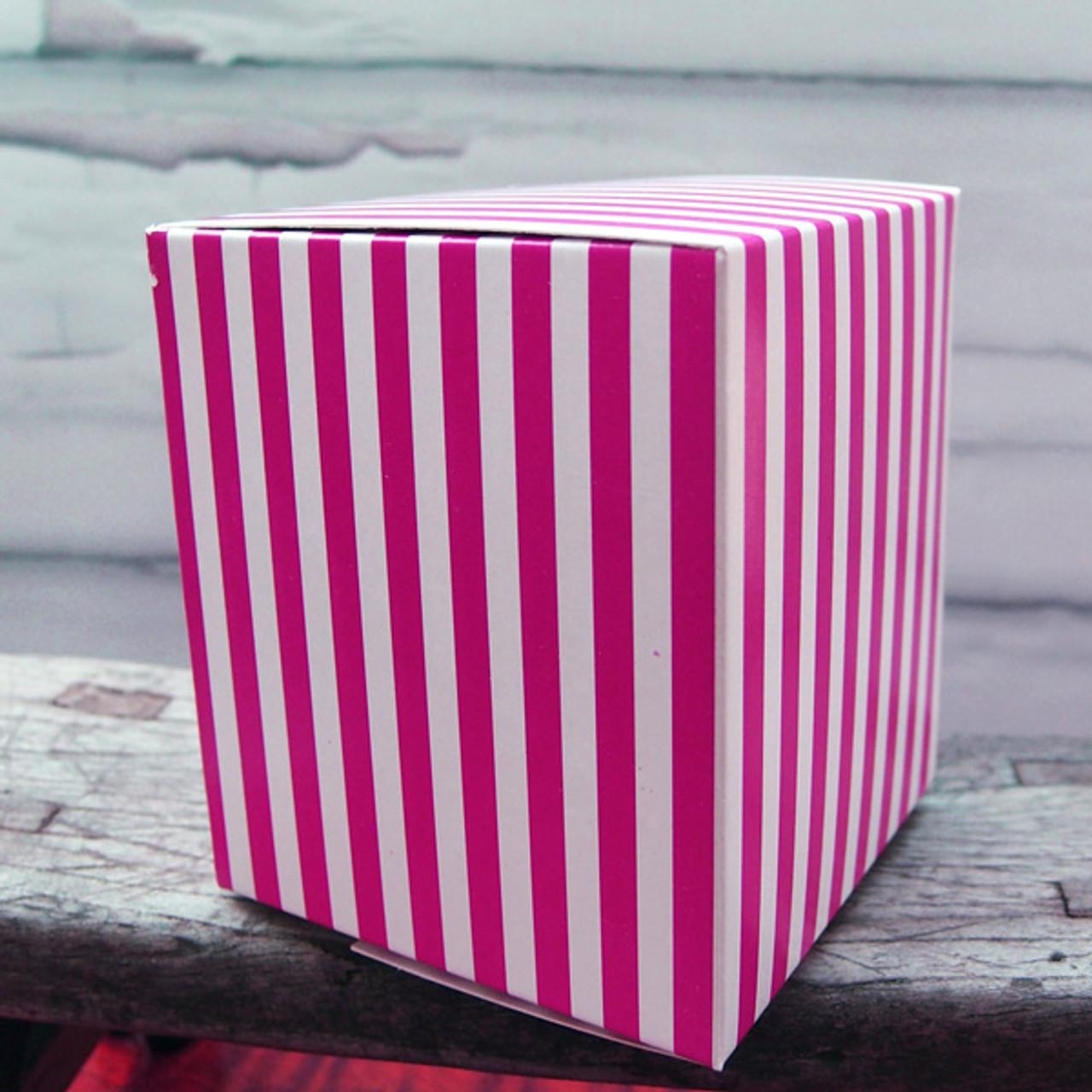 "3 1/4""x3 1/4""x3 3/4""Paper Square Box-Hot Pink Stripes"