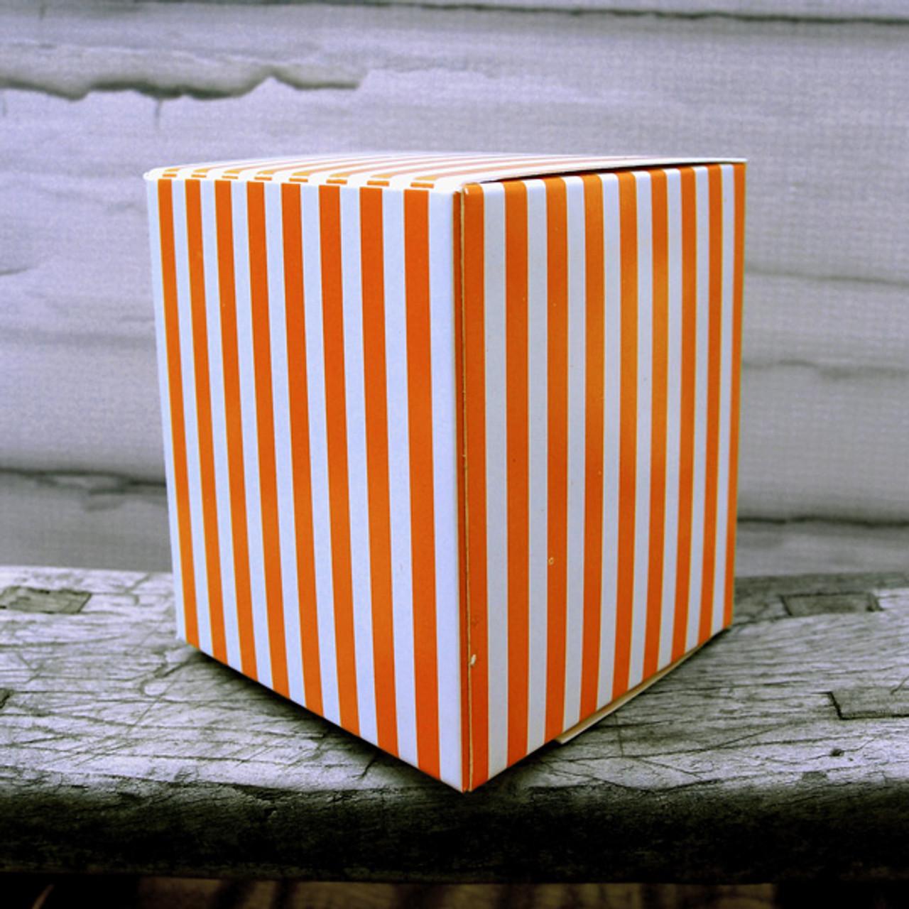 "3 1/4""x3 1/4""x3 3/4""Paper Square Box-Orange Stripes"