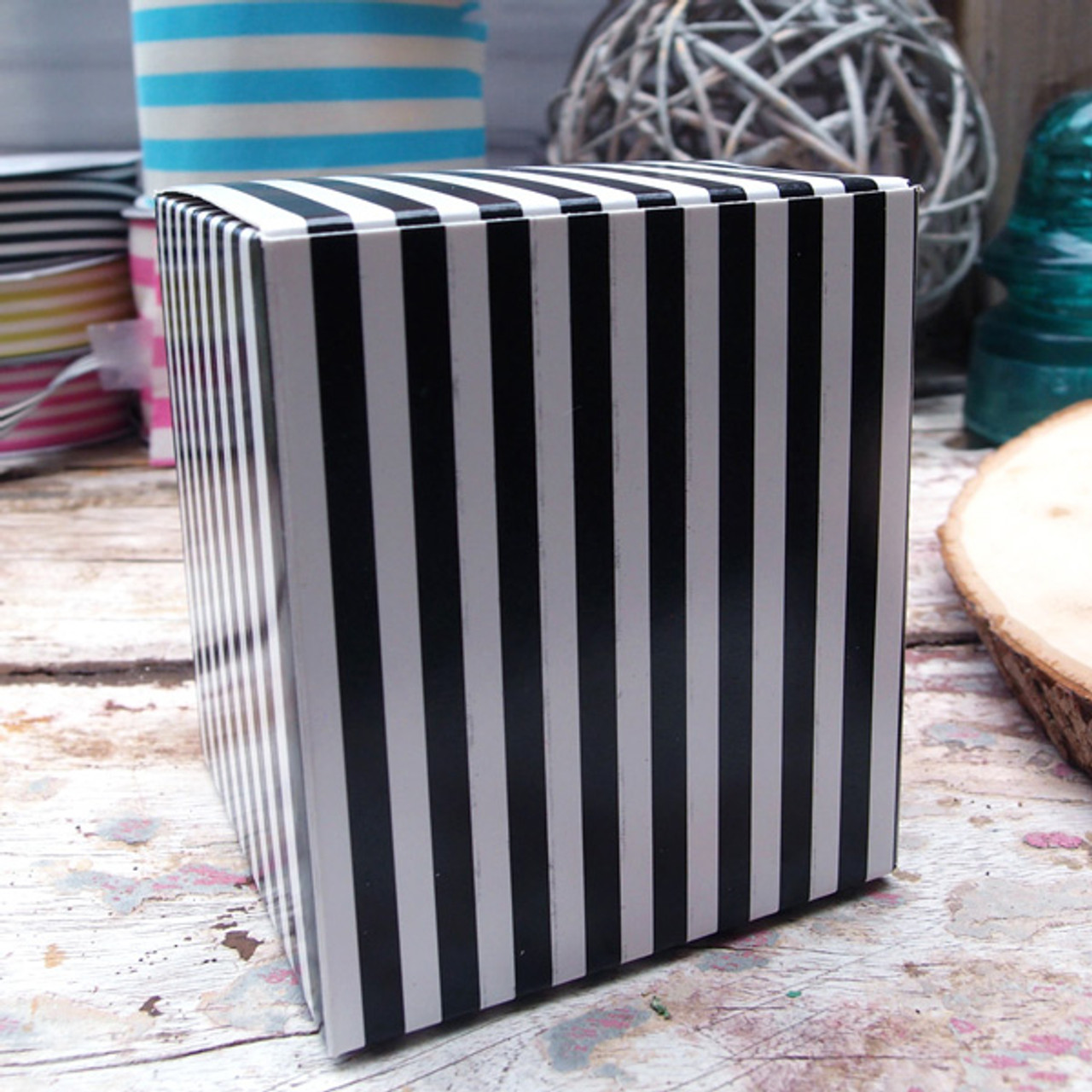 "3 1/4""x3 1/4""x3 3/4""Paper Square Box-Black Stripes"