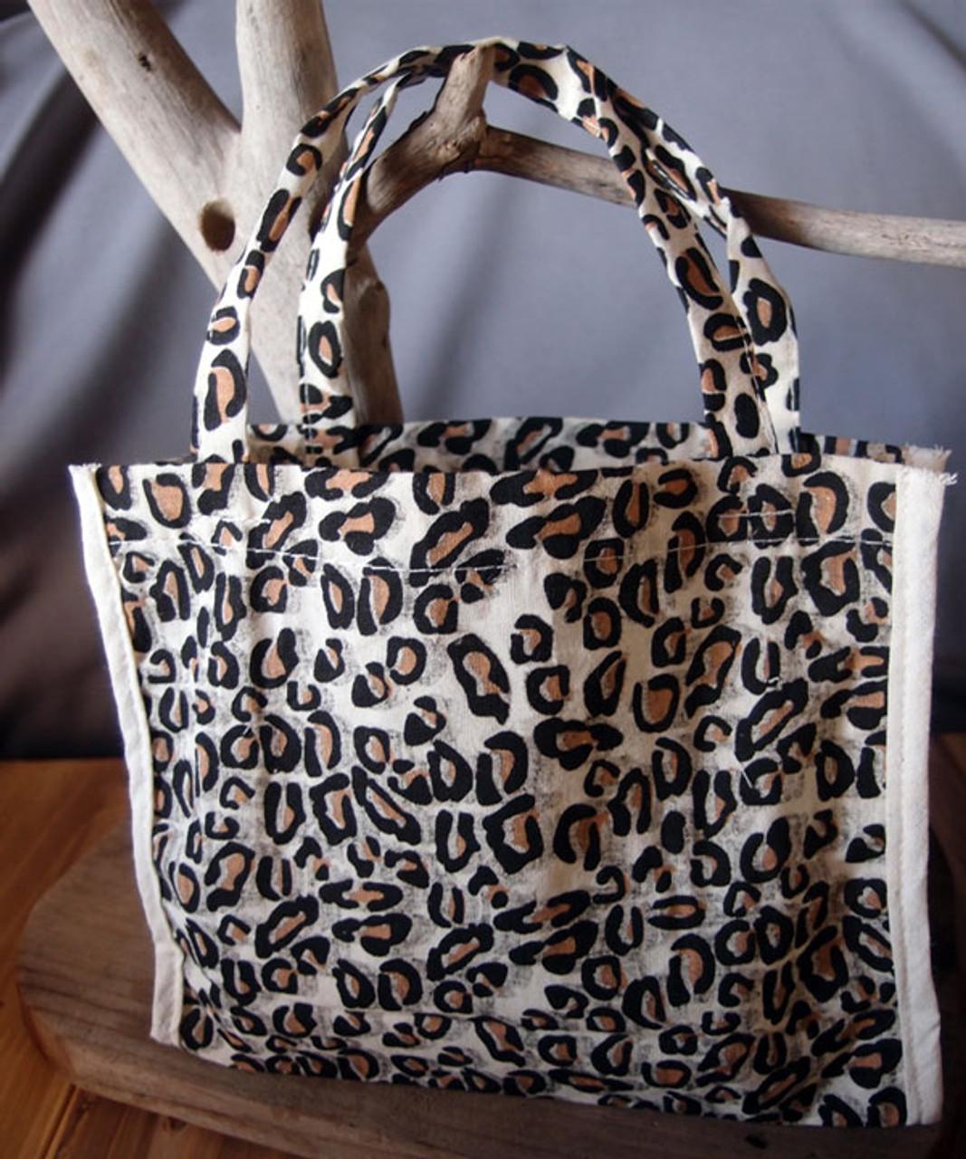 """Cotton Leopard Print Bags 7"""" x 6"""" x 2.75"""""""