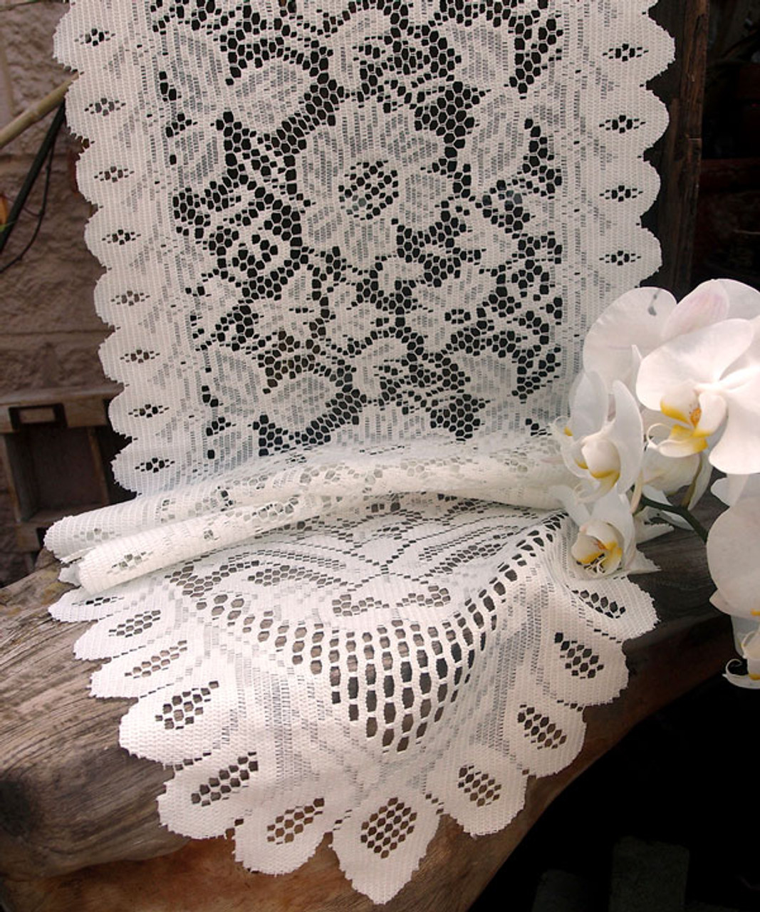 """13""""x120"""" Ivory Floral Lace Table Runner"""