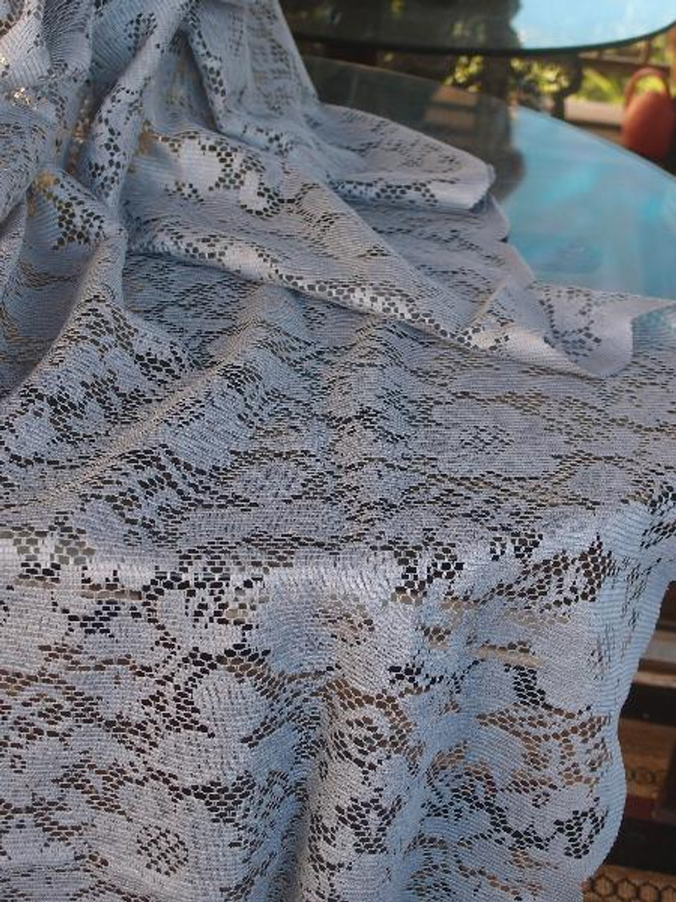 """54""""x54"""" Gray Floral Lace Square Table Overlay"""