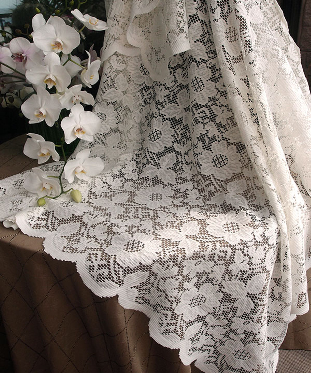 """54""""x54"""" Ivory Floral Lace Square Table Overlay"""