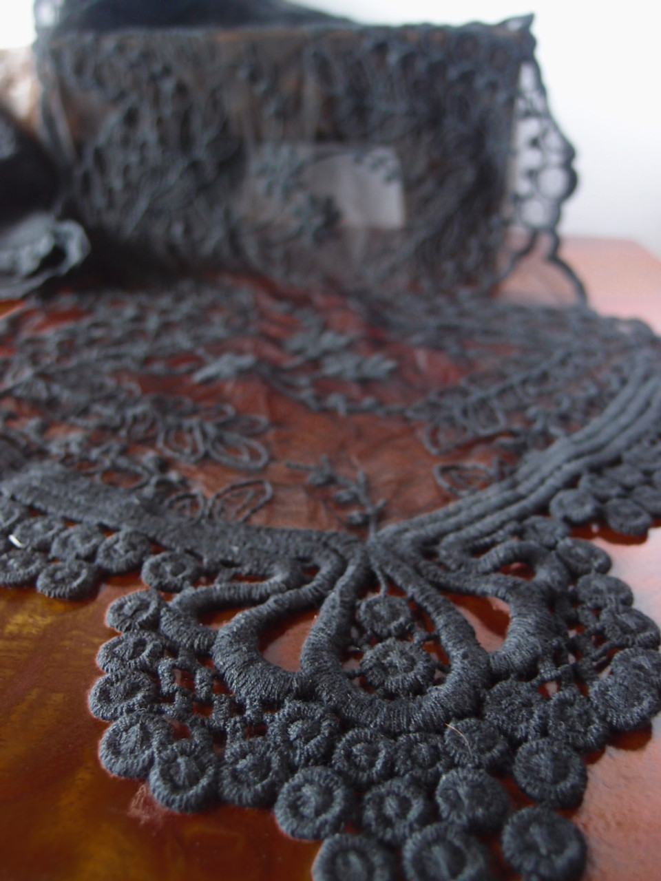 """12""""x74"""" Black Lace Table Runner"""