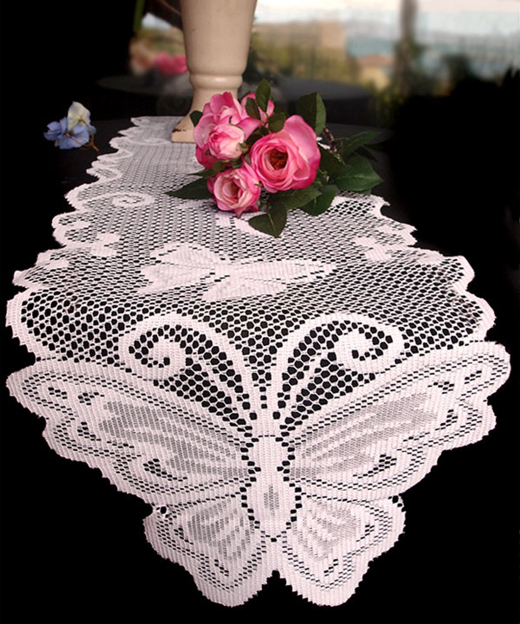 "13""x96"" White Butterfly Lace Table Runner"
