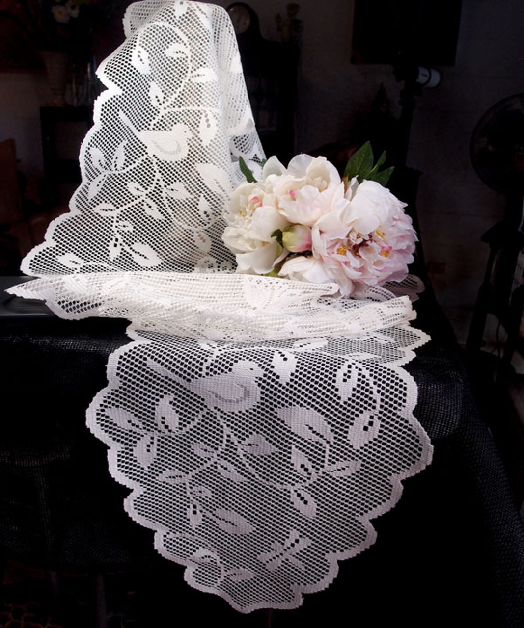 """13""""x96"""" White Bird Lace Table Runner"""