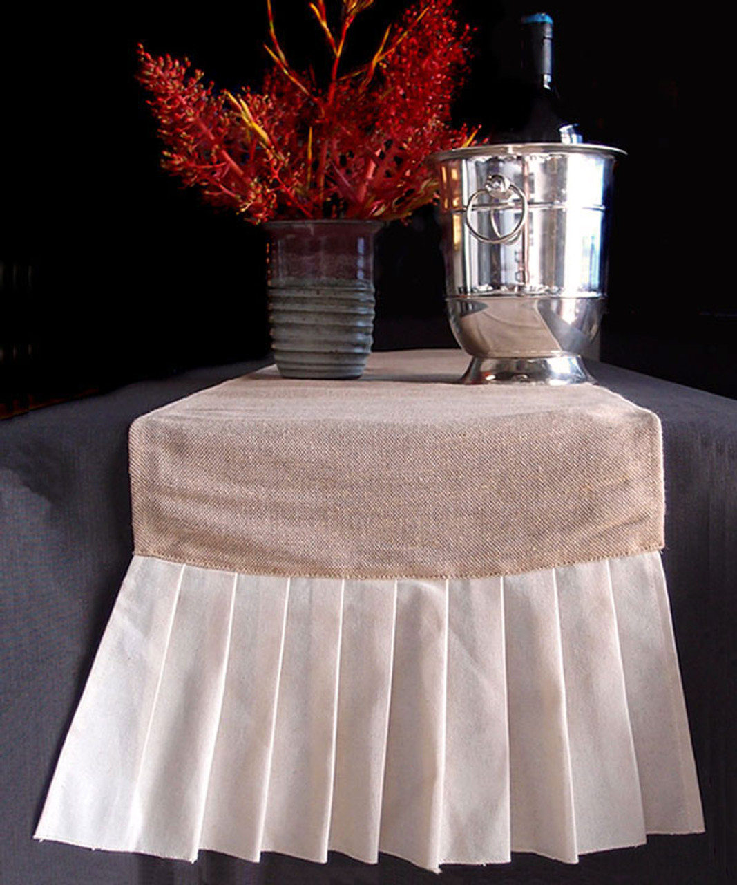 "14""x114""Jute Cotton Blend with Cotton Pleated Table Runner"