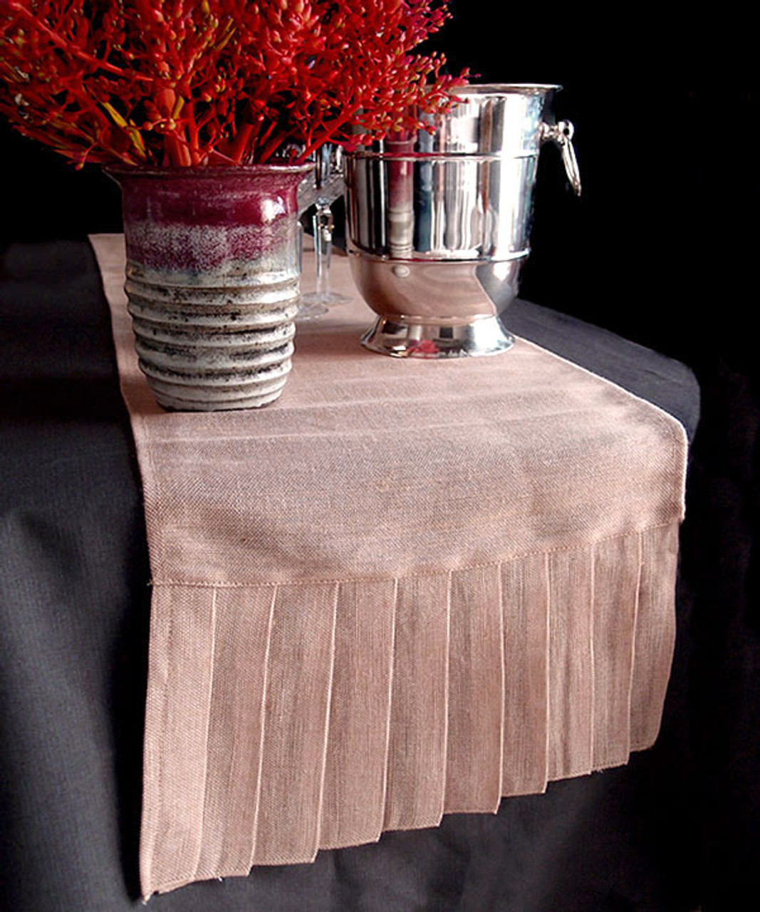 "14""x114""Jute Cotton Blend Pleated Table Runner"