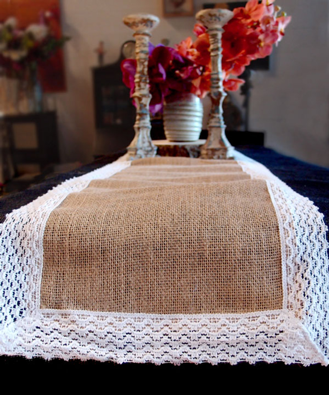 "14""x108"" Burlap Jute with Lace  Accents Table Runner"