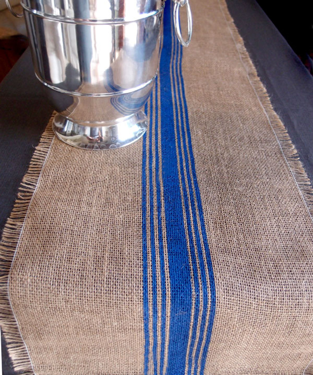 """12 1/2""""x108"""" Blue Striped Jute Table Runner with Fringed Edge"""