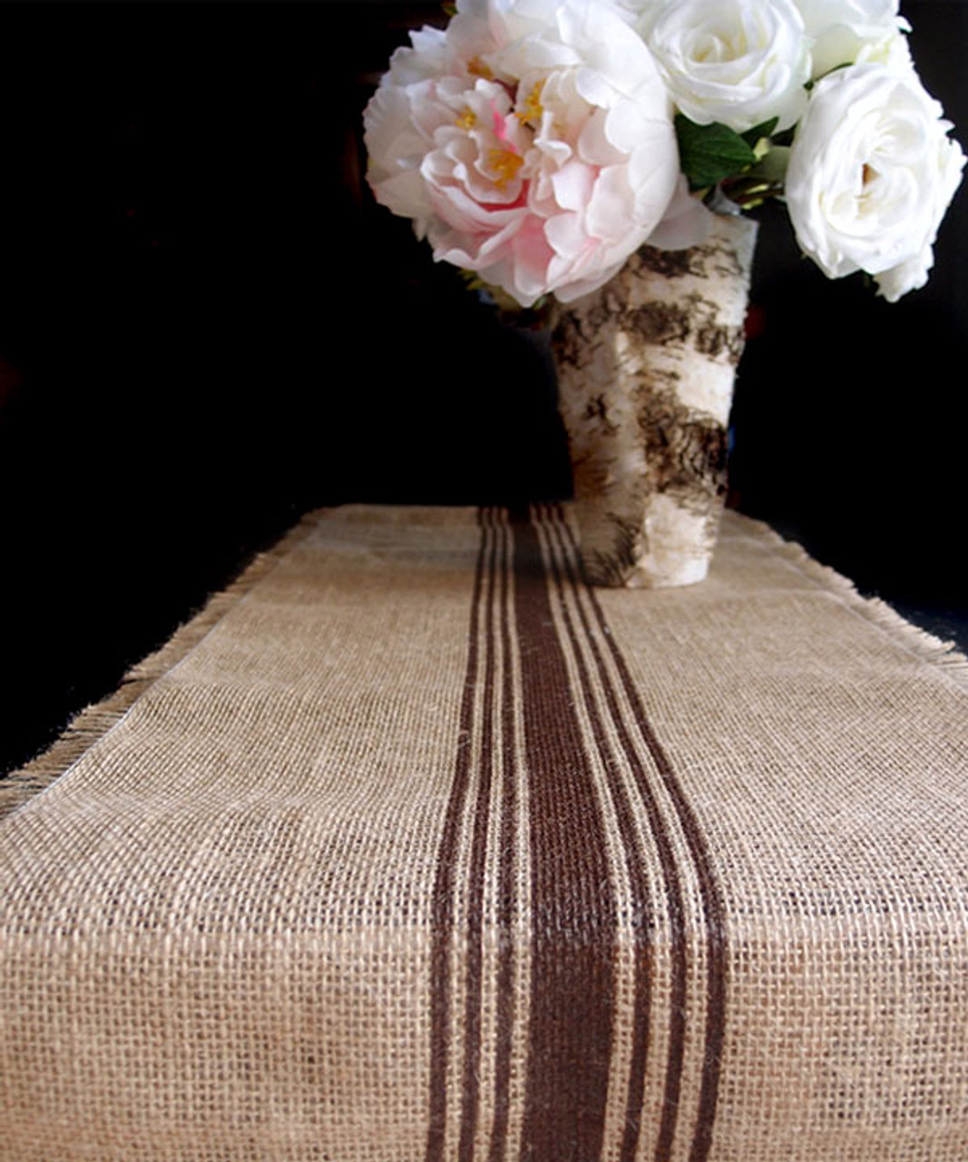 "12 1/2""x108"" Brown Striped Jute Table Runner with Fringed Edge"