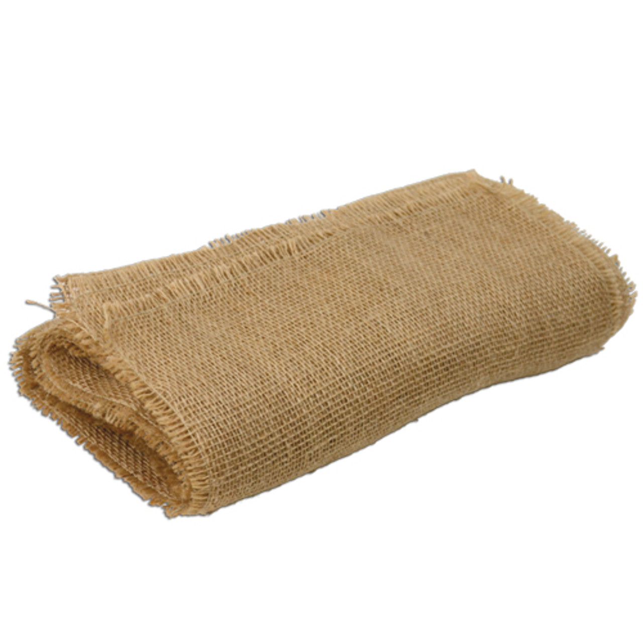 "12 1/2""x120""Jute Table Runner with Fringed Edge"