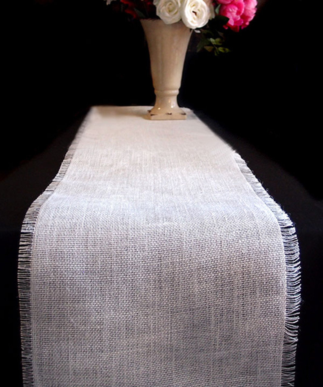 "12 1/2""x108"" White Burlap Jute Table Runner with Fringed Edge"