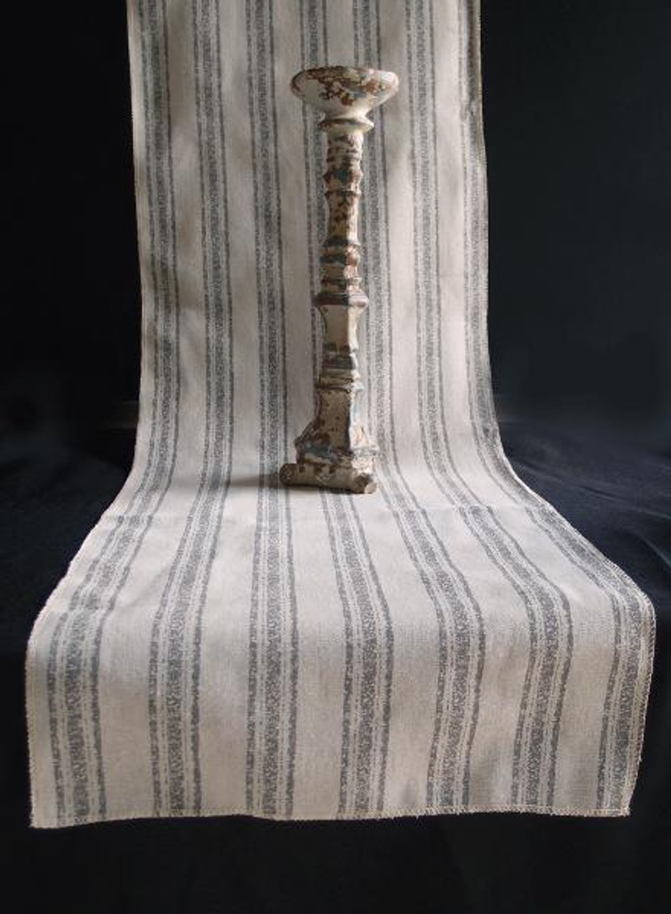 """14 1/2""""x108"""" Pewter Gray Stripes Linen Table Runner with Selvaged Edge"""
