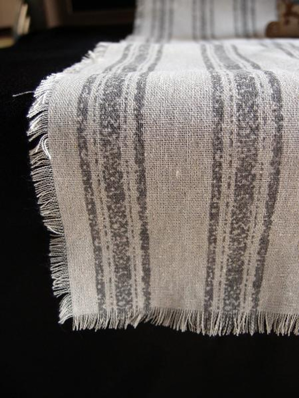 """14 1/2""""x108"""" Pewter Gray Stripes Linen Table Runner with Fringed Edge"""