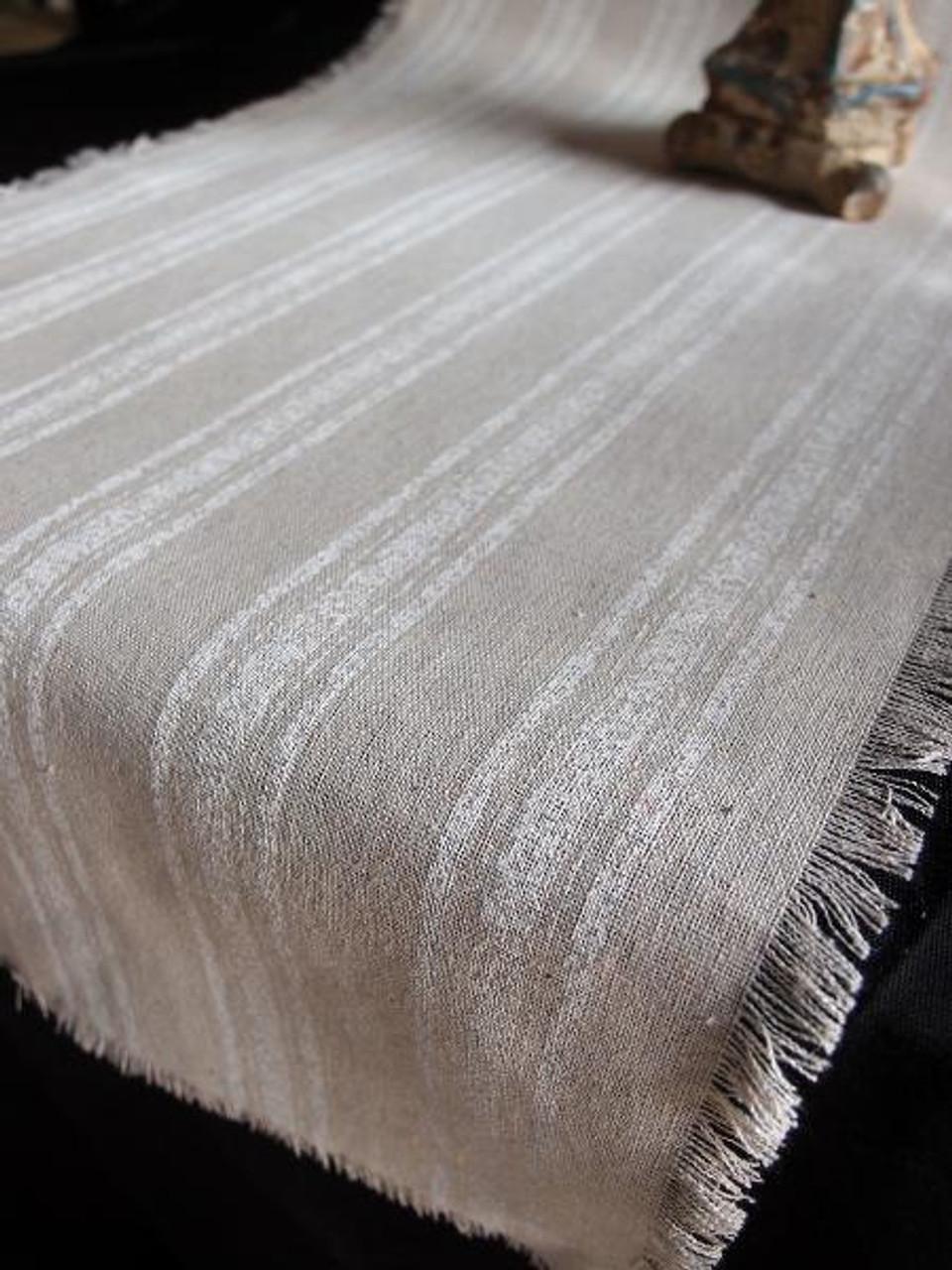 """14 1/2""""x108"""" White Stripes Linen Table Runner with Fringed Edge"""